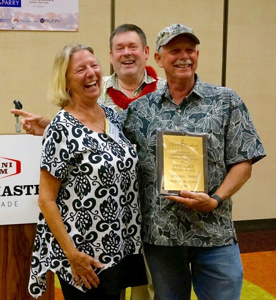 Photo credit: Kelleigh Stewart of Big Island Coffee Roasters L to r: Beth Hicks, Greenwell Farms; Howard Dicus, Hawaii News Now; Tom Greenwell, Greenwell Farms